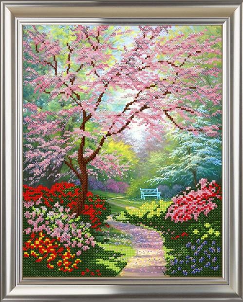 Весенний сад вышивка бисером 66